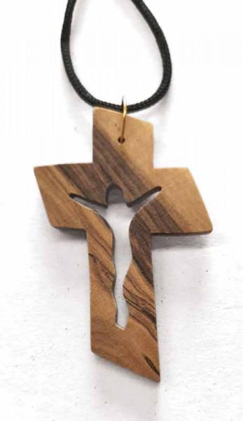 Kette mit Kreuz, Olivenholz