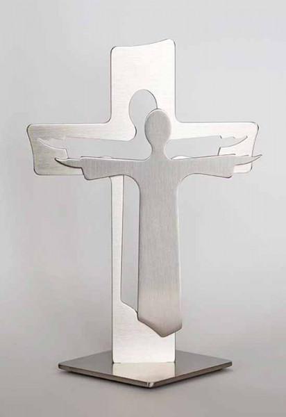 Standkreuz Jesus, Edelstahl